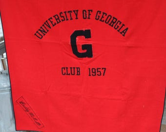University of Georgia, Bulldogs, UGA, Class of 1957 Swim Club Captain, Buddy McNutt, Wool Stadium Blanket, Red and Black, Award Blanket,