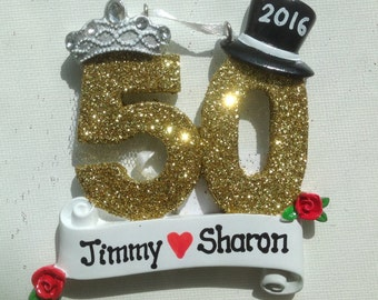 Personalized 50th Anniversary Christmas Ornament- Golden Anniversary Favor, Gift Tag- Free personalization