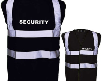 "Black Security Safety Reflective Hi Visibility Vest, Printed on rear and Front Left Breast ""SECURITY"""