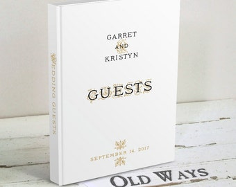 Elegant White Classic Wedding Guest Book - Black and Gold Accent - Wedding Wishes Book - Traditional Personalized White Wedding Guest Book
