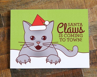 "Funny Christmas Card ""Santa Claws"" - Funny Cat Christmas Card, Cat Lover Christmas, Cat Holiday Card, Cat xmas card, Cute cat card"