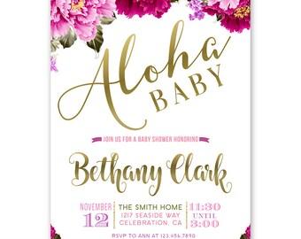 Tropical Hawaiian Baby Shower Invitations Girl, Aloha Baby Girl Invites, Luau Theme Baby Shower, Tropical Theme Shower, Pink, Purple Gold