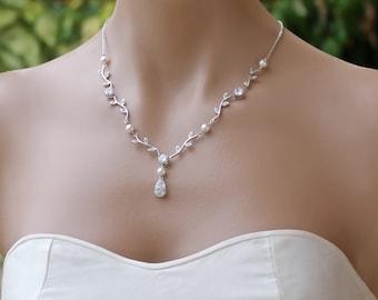 Vine Bridal Necklace, Crystal Wedding Necklace, Wedding Jewelry, Bridesmaid Necklace VINE