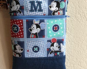 Cutest Mickey Mouse Blue Patchwork Crossbody Bag