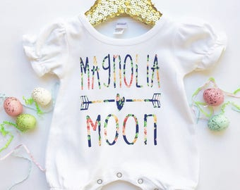 Baby girls personalized name floral vinyl romper newborn outfit hospital outfit going home outfit by sweet sprouts