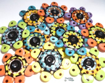 JAZZ TOPPERS  Lampwork Beads Handmade Big Bold Disc Beads in Black Yellow Melon Coral Blue Green Purple   Set of 11