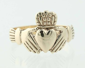 Irish Claddugh Ring - 9k Yellow Gold Friendship Wedding Size 7 3/4 G0915