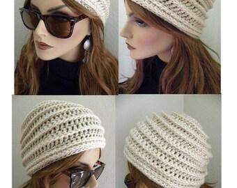 Chapeau d'hiver blanc, chapeau Cloche, conception de peigne de miel, bohème Chic, au crochet chapeau, bonnet blanc, chapeau femme, accessoires d'hiver