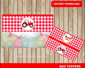 Tractor bags toppers; printable Red Tractor treat bags toppers, Tractor party toppers instant download