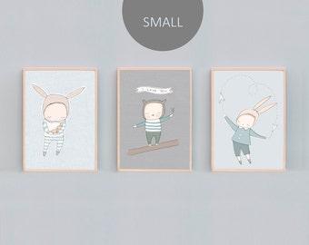 8x10, A4 , Boys Bedroom Animal Art Print Set, Boy Modern Nursery Art, Baby Boy Room Art, Boys Bedroom Art Prints, Blue Nursery Art, Rabbit