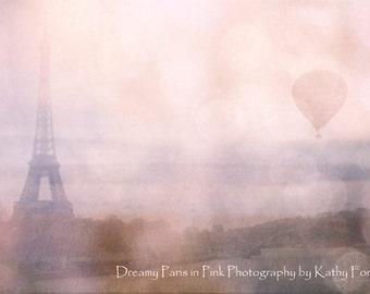 Paris Blush Pink Eiffel Tower Print, Paris Blush Girl's Room Nursery Prints, Pink Eiffel Tower Balloon Print, Blush Pink Eiffel Tower Prints