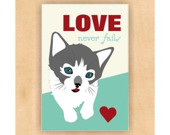 Cat Magnet,  Love Never Fails Verse, Cat Art, Cat Print, Cat Lover Gift, Kitten Art, 2 x 3