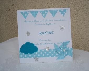 "baptism, white and blue ""Windmill"" invitation + envelope"