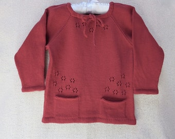 Toddler Girl Crew Neck Knit Cotton Pullover/Sweater/Blouse/ T-Shirt - Free Shipping in US