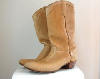 Ammons Handmade Cowboy Boots/ Tan Western Boots/ Mens Size 8/ Women's SIze 9 1/2