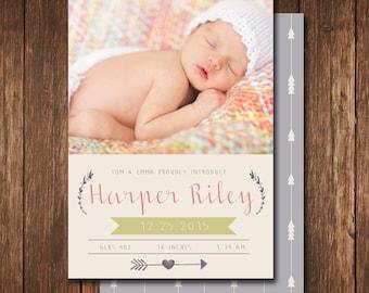 Modern baby girl birth announcement. custom photo card. introducing