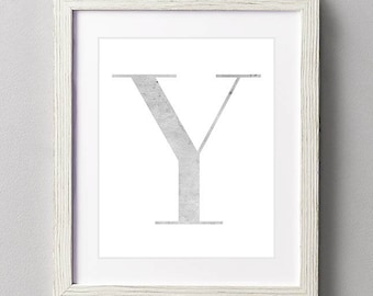 Letter Y | Nursery Print | Nursery Art | Alphabet | Instant Download | Digital Print | Wall Art | Gray | Initials | Grey | Gender Neutral
