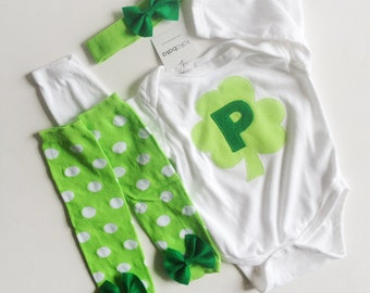 St. Patrick's Day Shamrock Initial One Piece With Polka Dotted Bow Baby Leg Warmers and Bow Headband