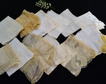 Antique Ivory & White Hankie Lot ....Twelve