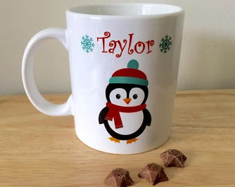 Personalised Christmas mug, Childs personalised mug, novelty mug, Christmas Eve mug, hot chocolate mug, penguin mug, penguins,
