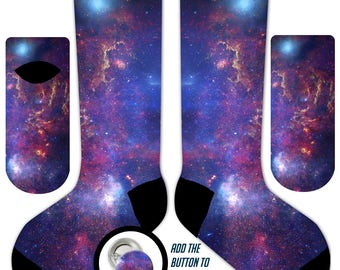 s01 - Purple GALAXY STARS in SPACE  - 11' Crew or Ankle Socks and Button