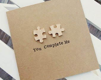 You Complete Me Anniversary Card - Girlfriend, Boyfriend, Wife, Husband