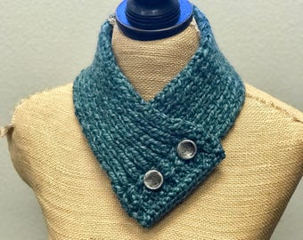 Hand Knitted Buttoned Neck Warmer in Wool-Ease Thick & Quick Blueberry Item# KNW101708 ***FREE SHIPPING***