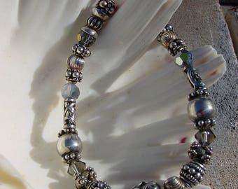 Bali Sterling Silver, Polished Sterling Silver, and Swarovski Crystal Beaded Bracelets