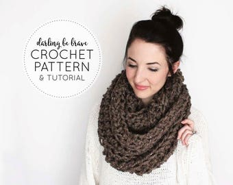 CROCHET PATTERN & TUTORIAL • The Caulfield Infinity Scarf  • Chunky Texture { Step by Step Photo Tutorials Included }