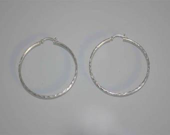 Vintage Sterling Silver Big Hoop Earrings, Large Silver Hoops