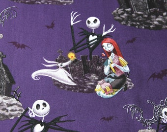 "100x110cm/39""x43"" Best Selling The Nightmare Before Christmas Sally Jack Skellington Cotton Plain Fabric"