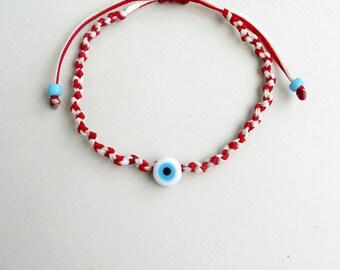 Gift for Men, Kids bracelet, Womens gift Evil eye March bracelet,Martis with evil eye bead,Traditional Martis,Spring bracelet,March bracelet