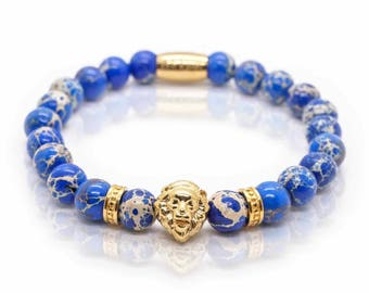 Lion Bracelet blue Sediment Jasper Beads, Gold Lion