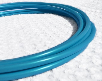 "Blue Hawaii  5/8"" HDPE Dance & Exercise Hula Hoop COLLAPSIBLE push button or minis - metallic frozen"