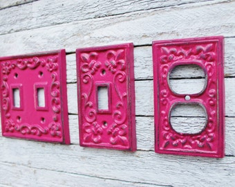 Light Switch Cover,Double Iron Switch Plate,Single Switch Plate,Metal Outlet Switch Plate Cover,Shabby Chic,Decorative Switch Plate,Hot Pink