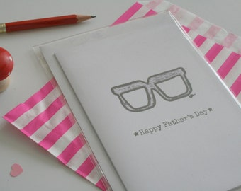 Glasses geeky fathers day card, card for him, card for Dad, retro style card, Dad card - 'Happy Father's Day' A6 card with envelope