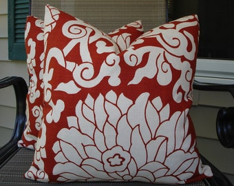 Modern Floral Pillow Covers One Pair 18 x 18 Handmade Home Decor Red and Off White Pillows Pair Red Pillows Pair Floral Pillows