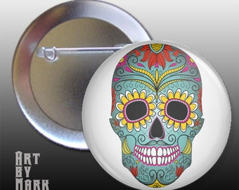 Sugar Skull Day Of The Dead 1.25 inch - Pinback Button