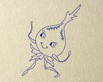 Hand Drawn Machine Embroidery Design Vintage Retro Dancing Cup Face 4x4 Tea Towel Kitchen Bluework Redwork