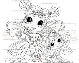 INSTANT DOWNLOAD Digital Digi Stamps Big Eye Big Head Dolls Digi Two Wee Winged Ones Cuties Besties By Sherri Baldy