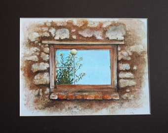 Derelict Barn Window - Buildings - Flowers - sky - Fine Art