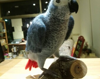 Needle felted african grey