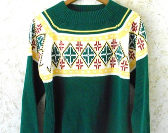 Vtg 70s JC Penney Snow Ski Pullover Sweater Geometric Green Yellow Hipster Sweater Retro Acrylic Mens Size Medium