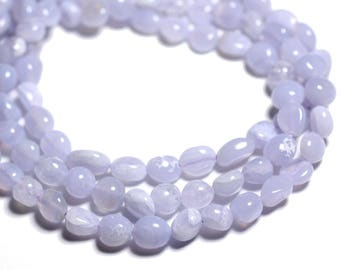 10pc - stone beads - chalcedony blue Nuggets 6-9mm - 4558550089526