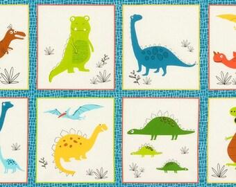 "Bermuda Dinosaurs 24""x44"" Panel from Robert Kaufman's Dinoroar Collection by Sea Urchin Studios"