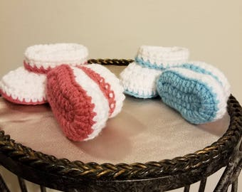 Baby Boy Booties/Baby Girl Booties/Crib Shoes/Cuffed Baby Booties/Crochet Baby Booties/READY TO SHIP/Baby Boots