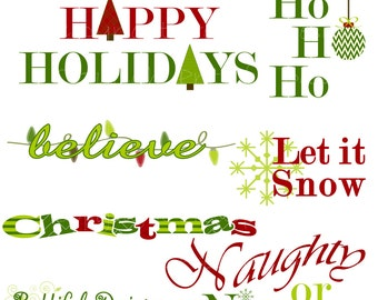 Christmas Word Art Holiday Clipart Commercial Use