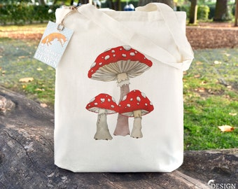 Toadstool Mushrooms Tote Bag, Ethically Produced Reusable Shopper Bag, Cotton Tote, Shopping Bag, Eco Tote Bag, Stocking Filler