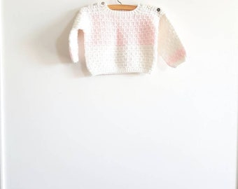 Vintage White and Pink Baby Sweater