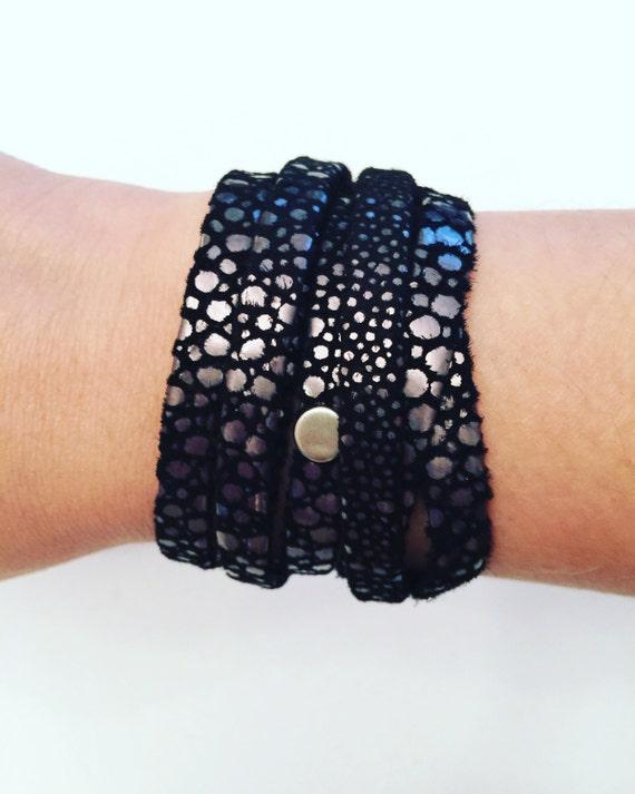 Black Sueded Snake Choker & Bracelet